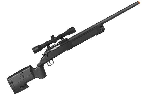 Rifle Sniper Airsoft Spring M62 Black 450fps + Luneta 4x32