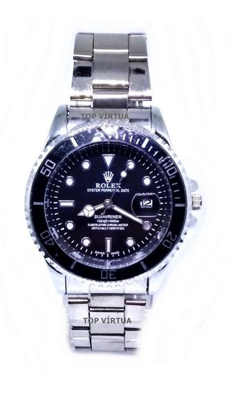 Relógio Masculino Aço Inox Com Lupa Analógico 42mm Promoção