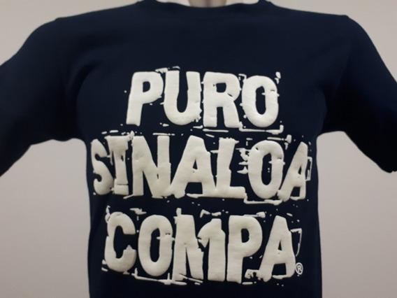 2 Playeras Puro Sinaloa Compa Frase Psc Azul Marino Culiacán