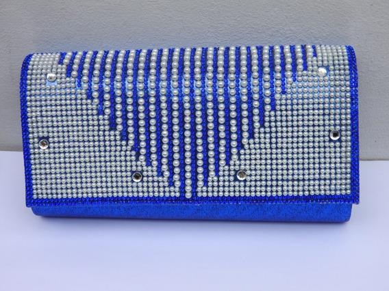 Sobre De Fiesta Azul De Raso Lluvia De Perlas Y Strass