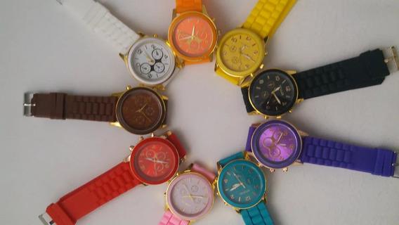 Relógio Feminino Pulseira Silicone Barato Geneva Coss Barato