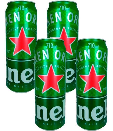 Cerveza Heineken Lata Rubia 710ml X4 Unidades Bebidas.