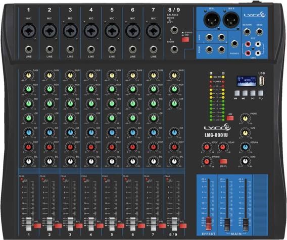 Mesa De Som 9 Canais Mixer Com Usb Lmg-0901u Lmg0901u Lyco