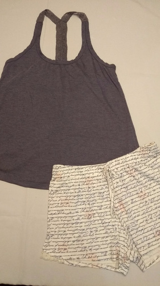 Pijama Com Detalhe Em Renda Tam M! Ref9053