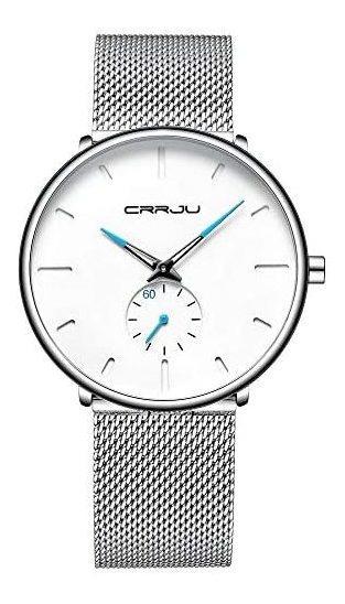 Crrju Reloj Metálico Hombre Elegante, Minimalista (plateado