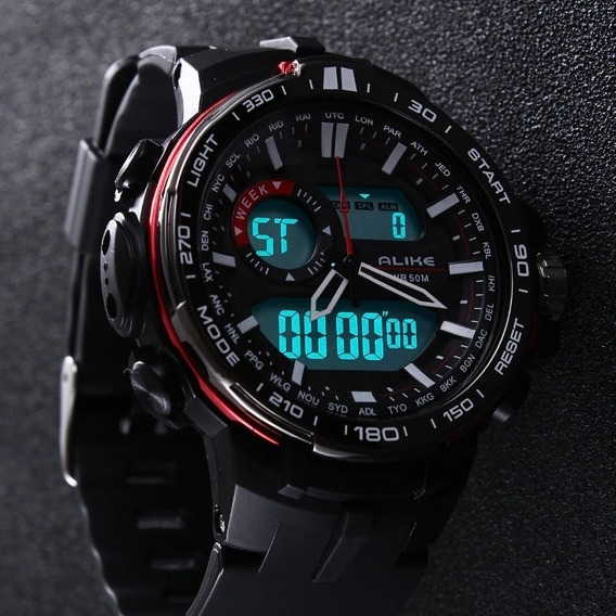 Relógio Alike Digital E Analógico, Militar!