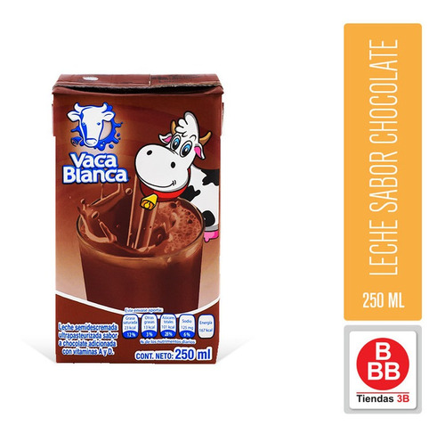 Imagen 1 de 2 de Leche Sabor Chocolate Vaca Blanca, 250 Ml