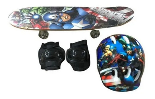 Skate Infantil Vingadores + Capacete + Joelheira;