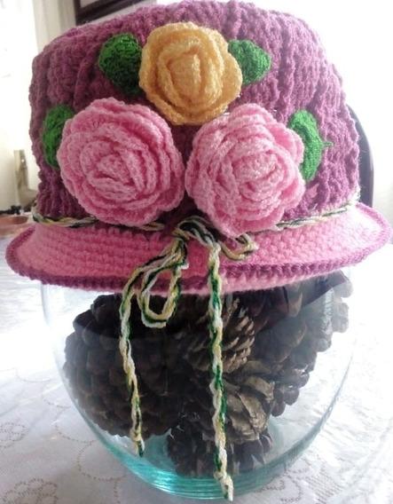 Sobrero, Gorro Para Niña De 4-6 Años Rosa Con Flores Tejido