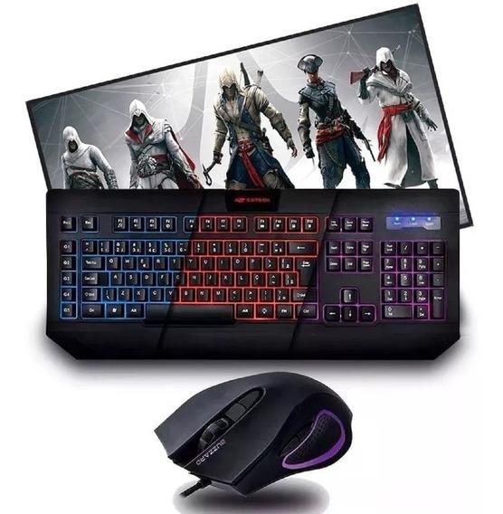 Kit Gamer Teclado Com Macro + Mouse 3200dpi + Mousepad Gamer
