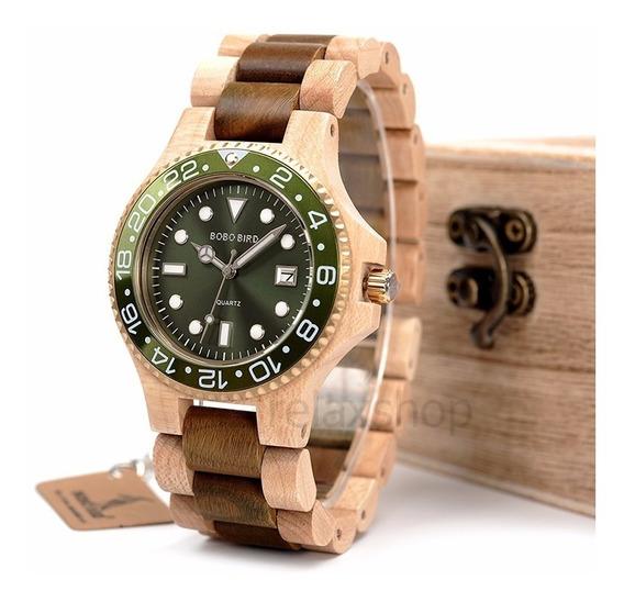 Relógio Madeira Mostrador Quartz Verde Pulseira Com Ajuste