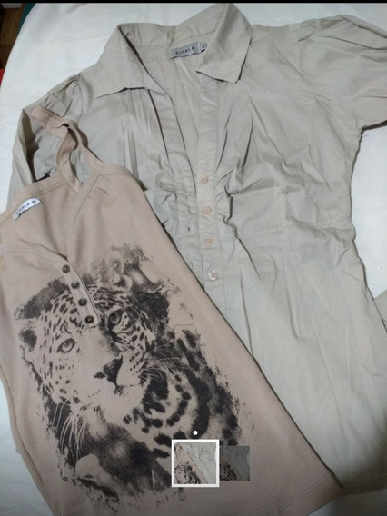 Combo X 2 Camisa Y Remera Musculosa Beige Sicala Microcent