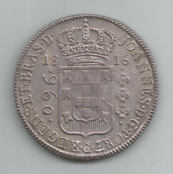 Moeda Prata Brasil - 960 Réis (patacão) - 1816 B - Var. 30