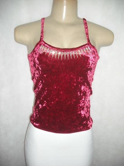 Blusa Cropped Vermelha Veludo Karen Veste P M Sem Uso
