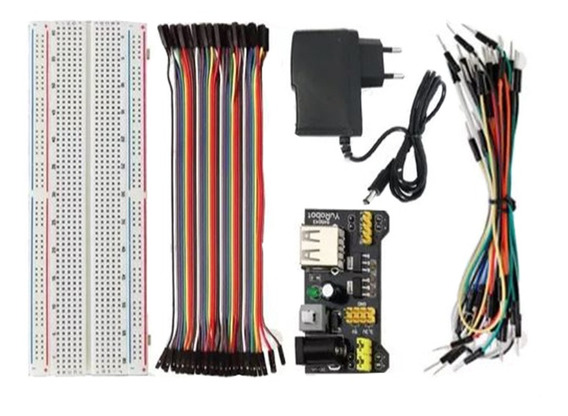 Kit Protoboard - Com Fonte - Jumpers Para Arduino - Pic