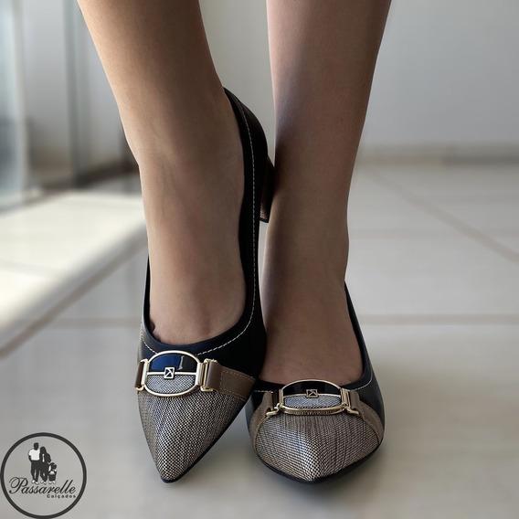Scarpin Bico Fino Salto Médio Sapato Lindo Piccadily Preto