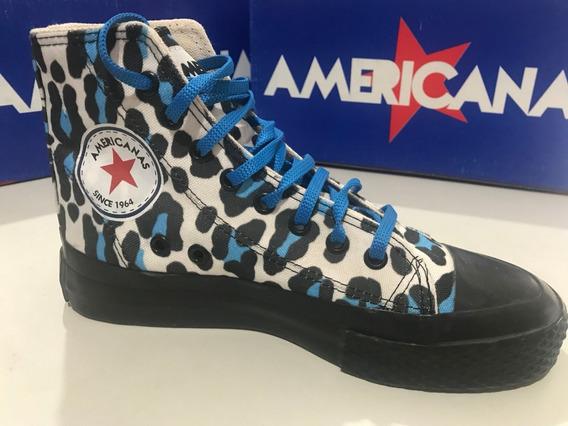 Zapatillas Botitas De Lona Americanas Animal Print