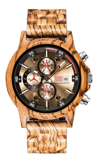 Relógio Pulso Masculino Madeira Bambu Giorgir - Original