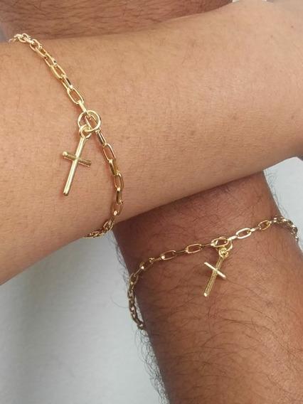 03 Kits Pulseira Casal Amizade Banhado Ouro Com 6 Und