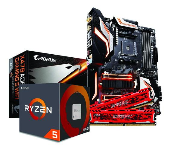 Kit Ryzen 5 2600x X470 Aorus Gaming 5 Wi-fi 16gb Ballistix