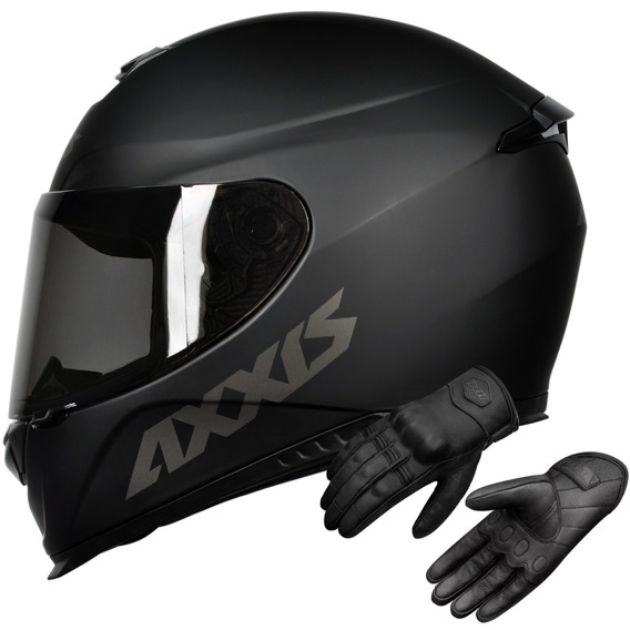 Capacete Axxis Eagle Preto Fosco Mais Luva De Couro X11