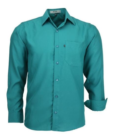 Camisa Amil Azul Marinho Social Em Poliéster Não Amassa