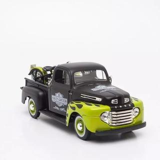 Carro Miniatura Coleção Hd Ford F1 Com Moto Escala 1/24