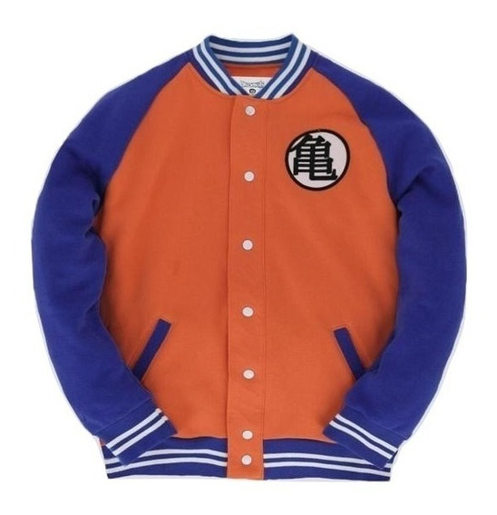 Gokú Varsity Jacket Máscara De Látex Chamarra Dragon Ball