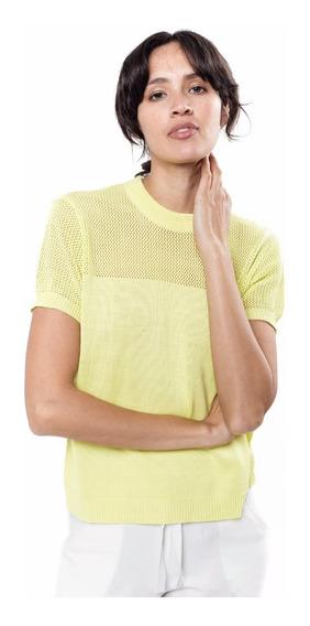 Sweater Blusa Tejida Amarilla Manga Corta Toscana Giacca
