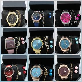 Relógios Femininos Kit C/ 5 Em Atacado Com Pulseira Promoção