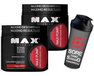 2 X Max Pump 240 G + Shaker - Max Titanium- Pré Treino