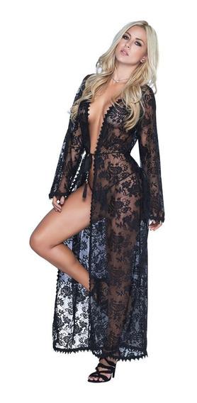 Sexy Kimono Color Negro Lenceria Sensual Y Erotica