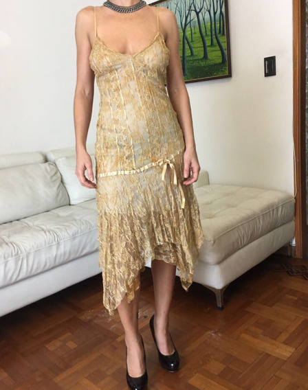 Vestido Largo De Fiesta Dorado Encaje