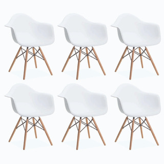 Sillón Silla Eames X 6 Blanco O Negro Diseño Living Comedor