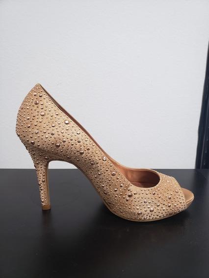 Sapato Salto Corello - Rosa Com Pedras