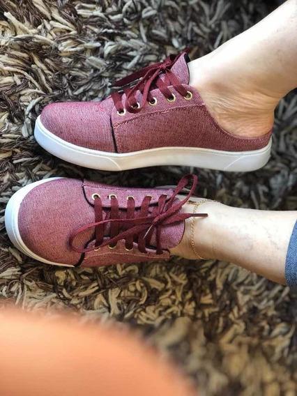 Tênis Mule Jeans Vermelho Confortável E Lindo