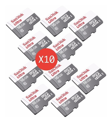 Pack 10 Tarjetas 16gb 80mb/s  Sandisk Micro Sd Clase 10