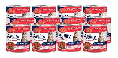 Imagen 1 de 6 de Agility Cats En Lata Sabor Carne X 340 Gr Pack X 12 Unidades