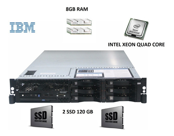 Servidor Ibm X3650, 1 Intel Quad-core, 8gb Ram, 2 Ssd 120gb