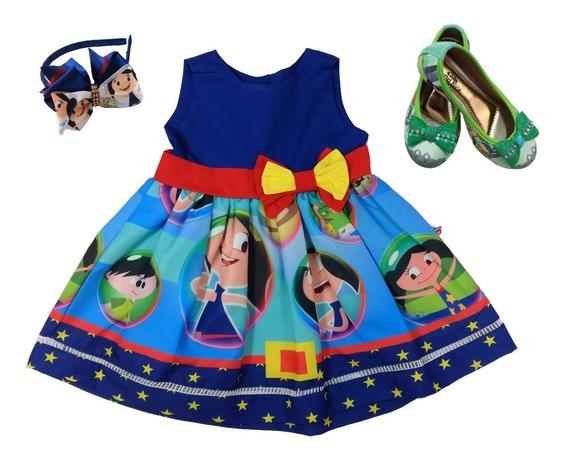 Sapatilha + Vestido Show Da Luna Tamanho 8 Anos +tiara