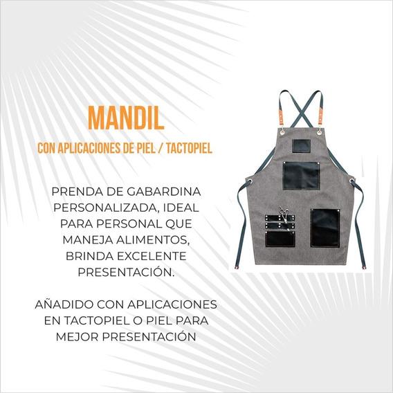 Mandil Gabardina Con Aplicación En Piel / Tacto Piel