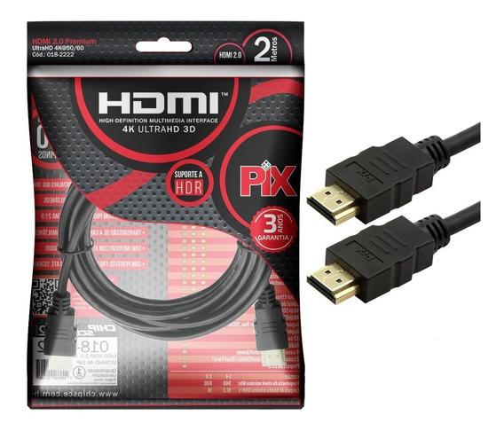Cabo Hdmi 2.0 4k 3d Ultrahd 19 Pinos Chip 2 Metros 018-2222
