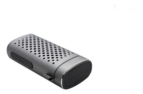 2 Pc Caixa Som Bluetooth 3w + Powerbank Alumín. Prata 2 Em 1