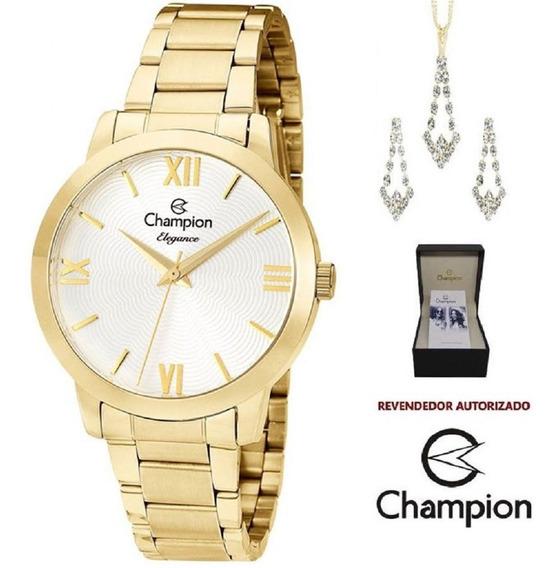 Kit Relógio Feminino Champion Dourado Colar Brinco Cn25403w