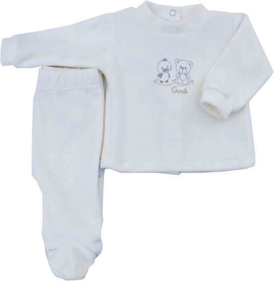 Conjunto Bebe Plush Liso Bordado 2 Animalitos 100 % Algodon