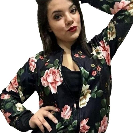 Jaqueta Bomber Estampada Floral Feminina Casaco Inverno Girl
