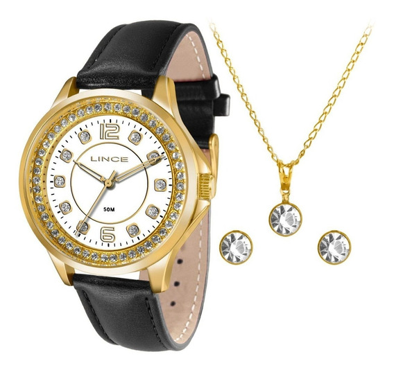 Kit Relógio Lince Couro Preta Madre Pérola Strass Lrc4398l