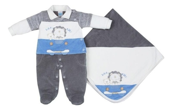 Saída De Maternidade Bebê Menino Plush 1,2,3 E Já Sonho Meu