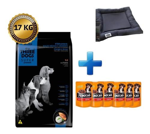 Imagen 1 de 3 de Three Dogs 17 Kg + 6 Salsas Primocao + Colchoneta + Envio