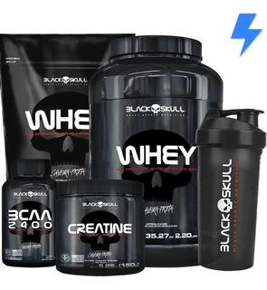 Whey Protein 1kg + Whey 900g + Bcaa + Creatina - Black Skull